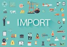 措辞有包含的套的进口平的象 库存例证