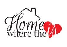 措辞设计,家是心脏的地方,墙壁标签,艺术设计, 库存例证