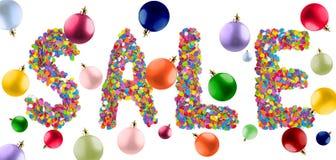 措辞销售被形成与多彩多姿的christma的五颜六色的五彩纸屑 免版税库存图片