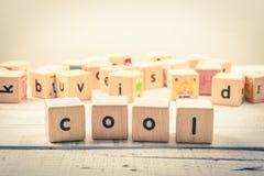 措辞`凉快的`木立方体在木头 免版税库存照片