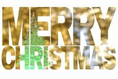 措辞`圣诞快乐`,与一棵绿色圣诞树的卡片在雪金黄被弄脏的背景 免版税库存照片