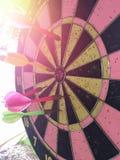 掷镖的圆靶是目标,并且箭是机会迷离 库存图片