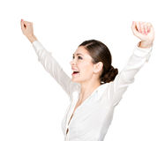 愉快的妇女用被举的手 免版税图库摄影
