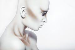 描出性感的妇女照片有白色人体艺术的 免版税库存图片