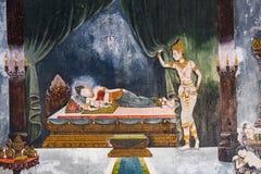 描述一个场面的泰国壁画从菩萨生活  图库摄影