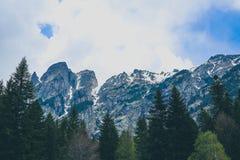 描述一个美好的喜怒无常的冷淡的多山风景的照片 库存照片