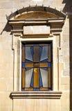 描述一个马耳他十字形的污迹玻璃窗 拉巴特 马耳他 库存图片