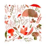 描述一套叶子,枝杈,莓果,花,秋天元素的例证 茶黄水彩的纹理,橙色,灰色,褐色 免版税库存照片