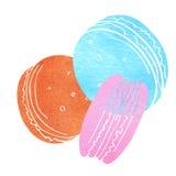 描述三个蛋糕的例证使水彩蓝色剪影桃红色和红色花 点心题字 水彩 免版税库存图片