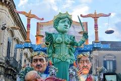 描述在意大利正义的寓言的浮游物讽刺 免版税库存图片