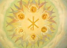 描述天使的plafond绘画 免版税库存图片