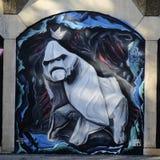 描述妖怪的街道画喜欢大猩猩 免版税库存图片