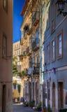 描述惊人的大厦和建筑学的里斯本/绘画里斯本/街道在里斯本 免版税图库摄影