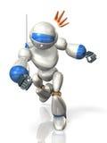 描述机器人战斗的被回报的图象 免版税图库摄影