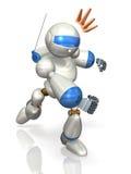 描述机器人战斗的被回报的图象 库存照片