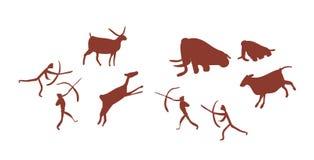 描述石器时期人或猎人的小组或部落头顶骨艺术或石洞壁画寻找鹿和庞然大物 库存例证