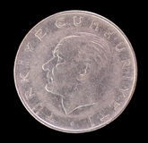描述第一总统或土耳其的老土耳其里拉硬币 图库摄影