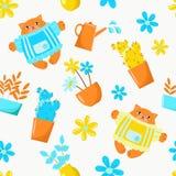 描述罐花的传染媒介图画在庭院和猫里 设置为设计墙纸,背景,织品,包装,纸, 皇族释放例证
