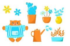 描述罐花的传染媒介图画在庭院和猫里 设置为设计墙纸,背景,织品,包装,纸, 向量例证