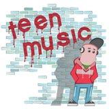 描述耳机的例证一个少年在砖墙附近 免版税图库摄影