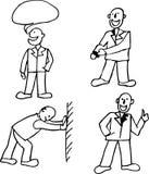 描述行动的一套四个人 设计的滑稽的人 免版税图库摄影