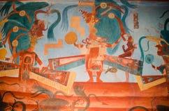 描述贵族的Bonampak壁画 库存照片