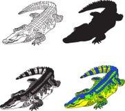 描述鳄鱼的例证,做等高、剪影、黑白斑点和明亮的颜色 库存图片