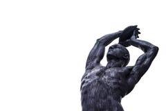描述黑人运动员的雕塑 库存图片