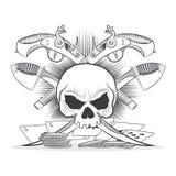 描述头骨,手枪,军刀的例证 库存图片