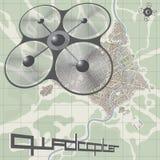 描述quadcopter的传染媒介例证 库存照片