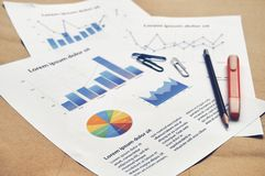 提供假的财政统计与饼图表、酒吧和林 免版税库存图片
