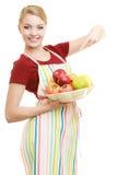 提供健康果子的主妇或卖主被隔绝 库存照片
