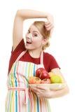 提供健康果子的主妇或卖主被隔绝 免版税库存照片