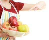 提供健康果子的主妇或卖主被隔绝 图库摄影