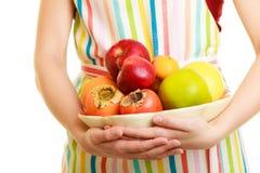 提供健康果子的主妇或卖主被隔绝 免版税库存图片