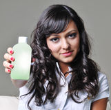 提供塑料妇女的瓶 库存照片
