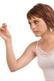 提供笔的白种人女性热病强调 库存图片