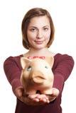 提供贪心妇女的银行 库存照片