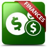 提供经费给美元的符号绿色正方形按钮 免版税库存图片