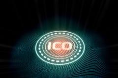 提供ICO的未来派数字式发光的最初的硬币 皇族释放例证