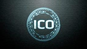 提供ICO的未来派现代发光的最初的硬币带领了商标在金属钢背景的全息图翱翔 库存图片