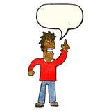 提出与讲话泡影的动画片恼怒的人观点 库存照片