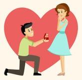 提出提案的人对女朋友 免版税库存图片