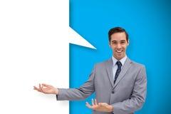 提出某事与讲话泡影的年轻商人的综合图象 库存图片