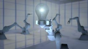 提出电灯泡的机器人手围拢由不同的象 皇族释放例证