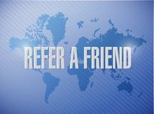 提到一个朋友世界地图标志概念例证 免版税库存照片
