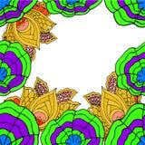 提取与莲花和叶子的被绘的框架 库存图片