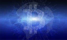 提取与bitcoin cryptocurrency标志的被加点的地球地球 设计横幅的,新闻岗位,社会媒介元素 库存图片