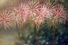 提取与bokeh的色的烟花背景在新年费斯特 免版税库存照片