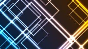 提取发光的霓虹五颜六色的正方形录影动画 皇族释放例证
